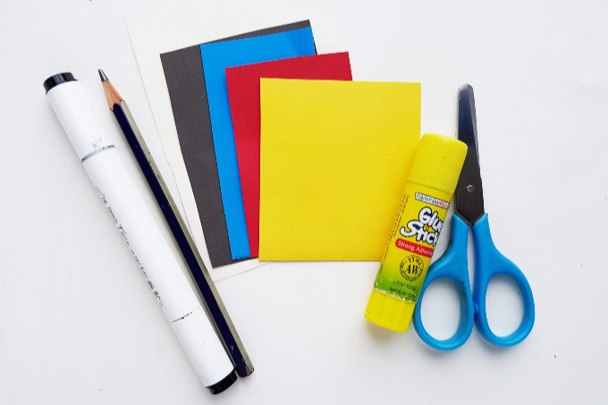 Supplies for Snow White paper craft