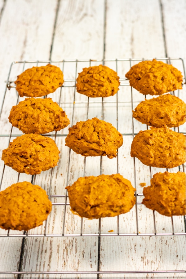 Pumpkin cookies cooling on wire rack
