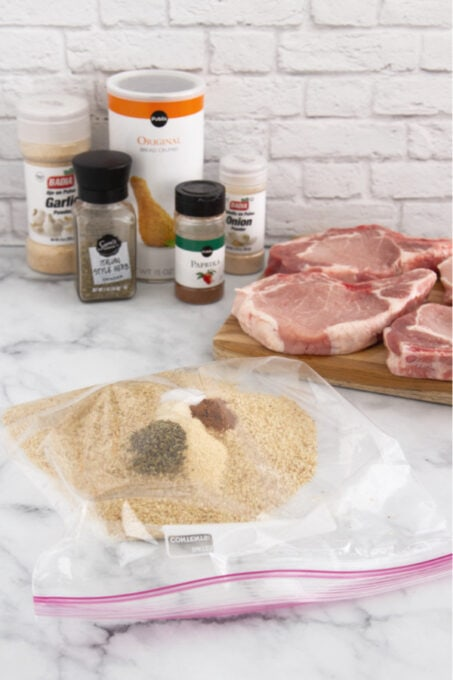 Ingredients for shake and bake pork chops in a bag