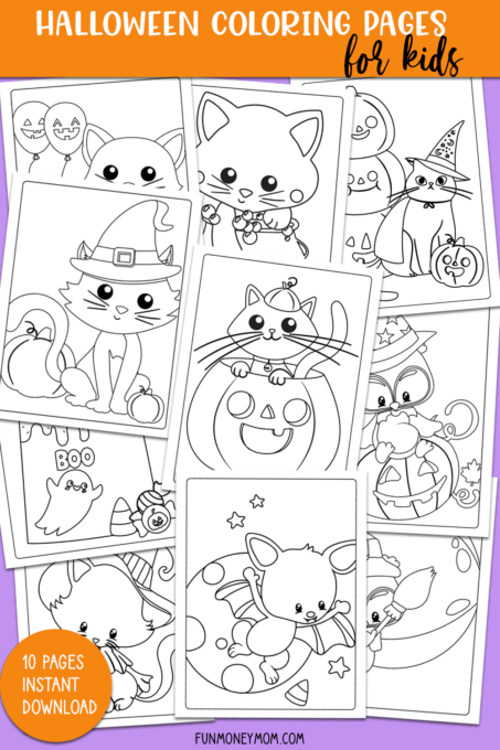 Collage of Halloween coloring pages