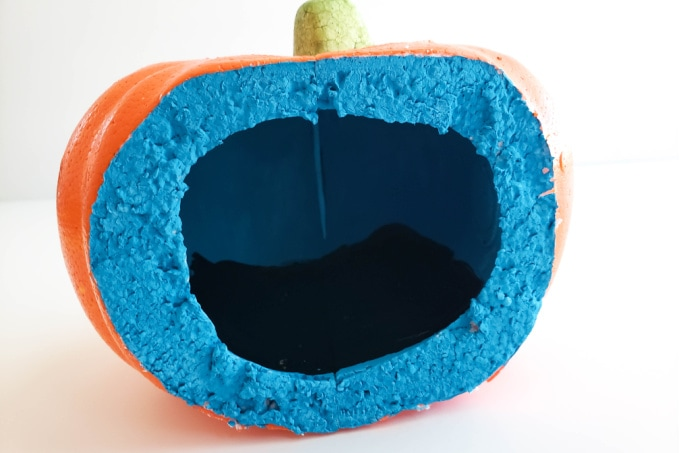 Pumpkin cut open and painted