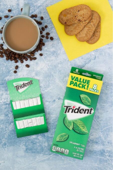 Trident gum on table with coffee