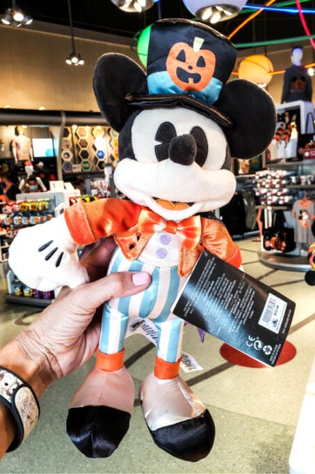 This plush Mickey is decked out for Halloween