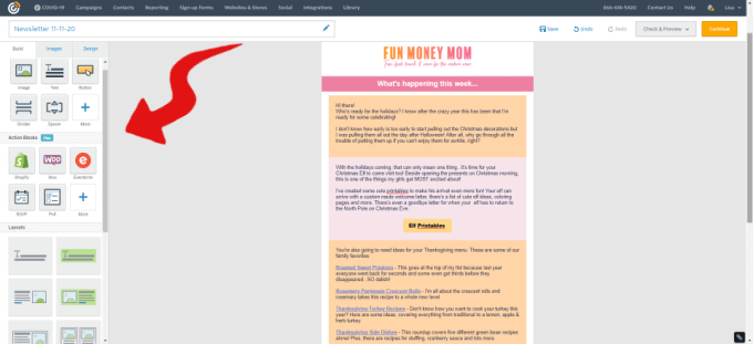 Constant Contact newsletter with arrow