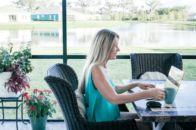 Working outside on a laptop