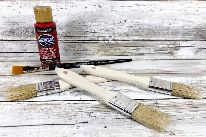 Supplies for Paintbrush Santa Ornament