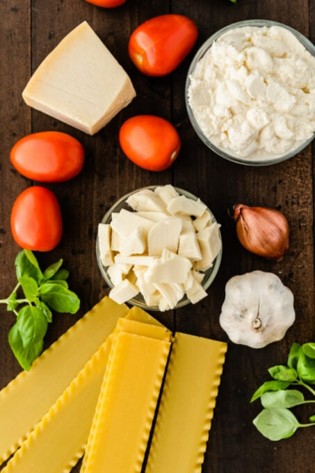Ingredients for classic lasagna