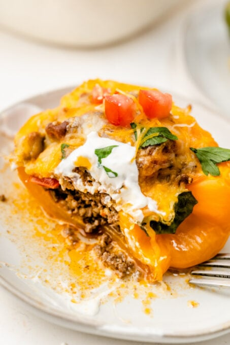 Half eaten taco stuffed bell pepper