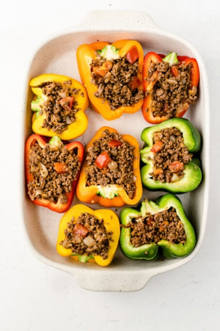 Bell peppers stuffed with ground beef mixture