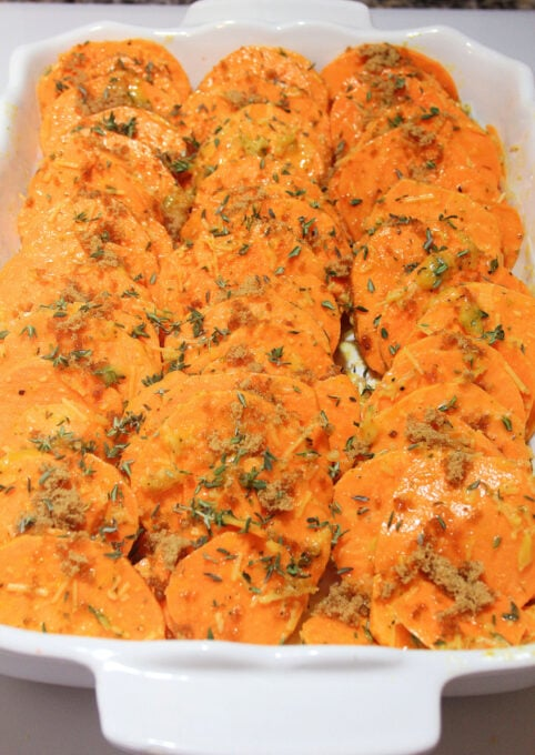 Roasted sweet potatoes in casserole dish