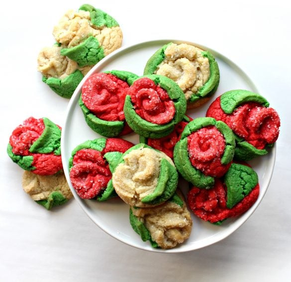 Sugar Cookie Roses on a plate
