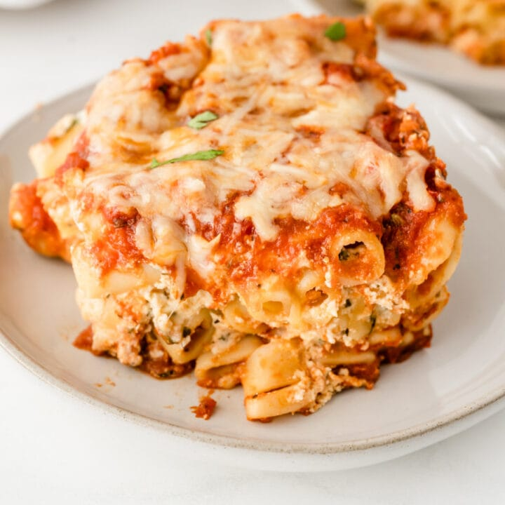 Slice of baked ziti on plate