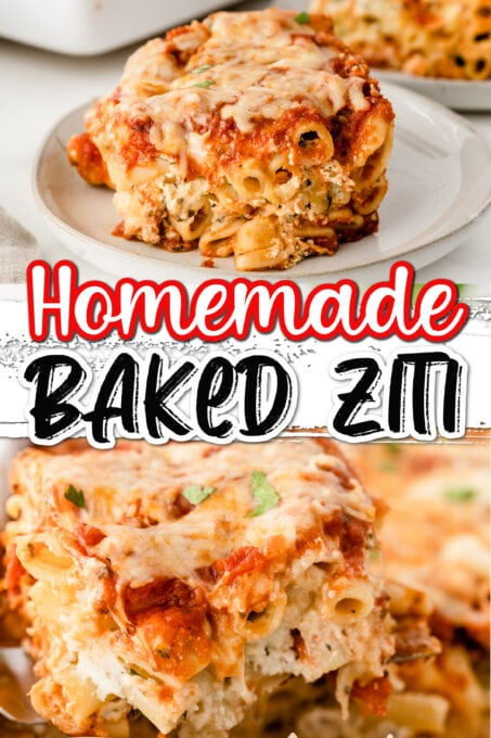 Two images of baked ziti in a collage