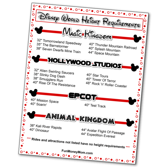 Walt Disney World Height Requirements Free Printable