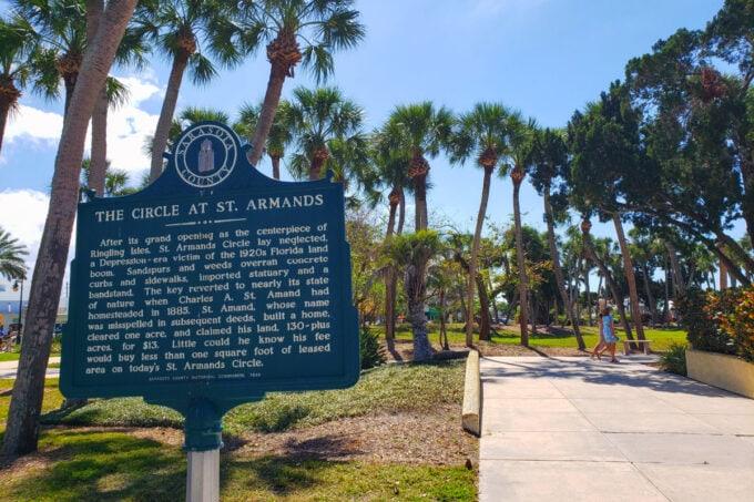 Historical sign at St. Armand's Circle on Lido Key
