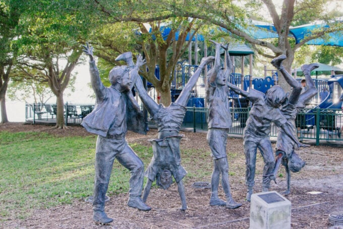 Statue of children playing in Bayfront Park