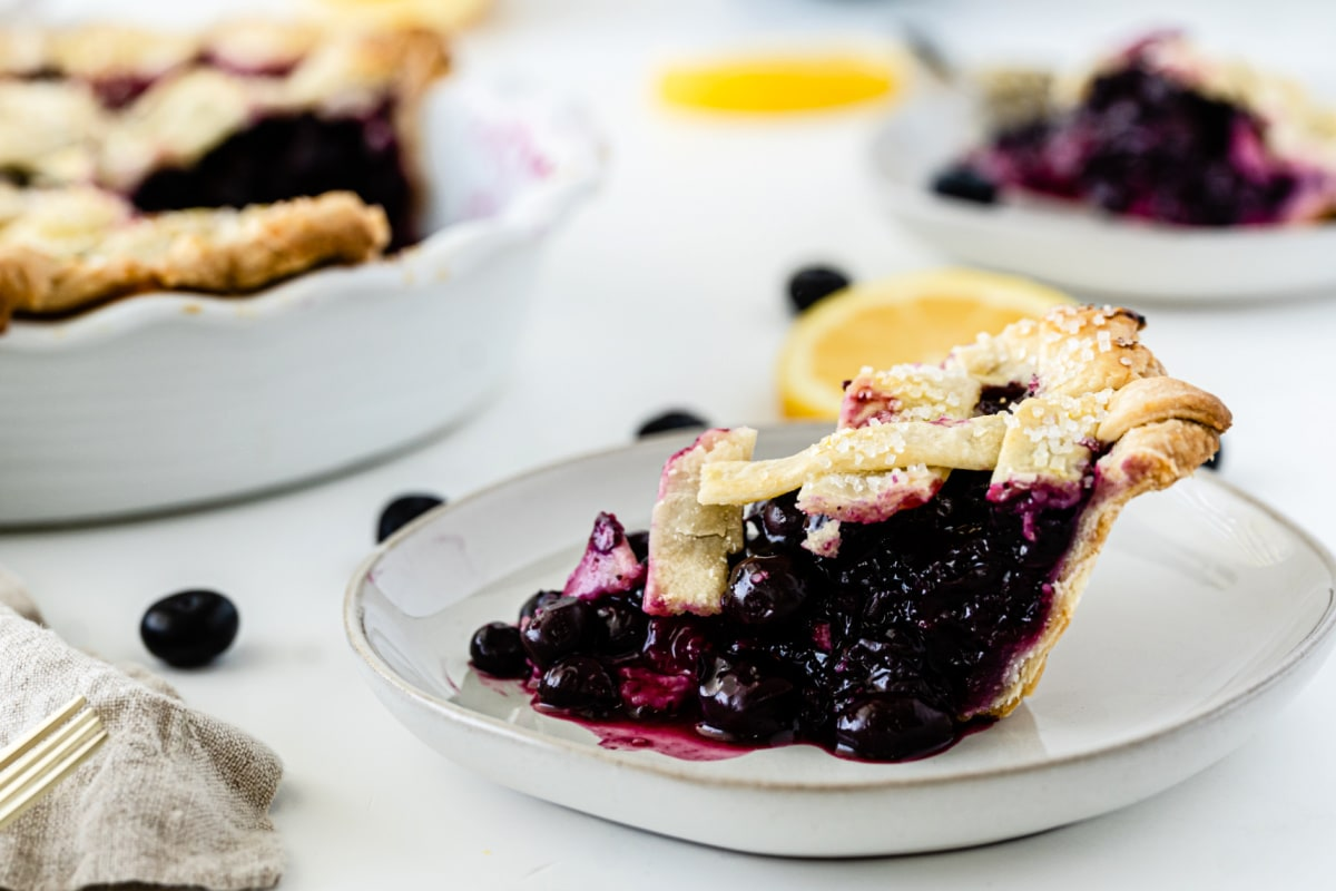 Blueberry pie on white plate