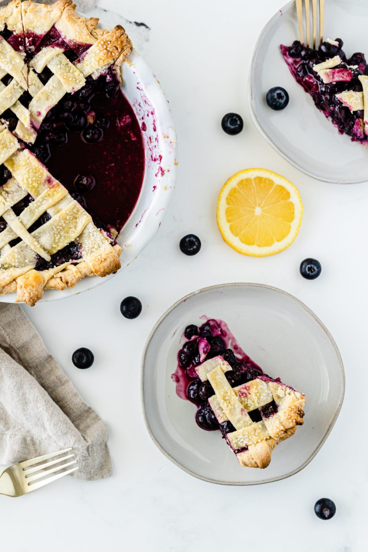 Blueberry pie with flaky pie crust