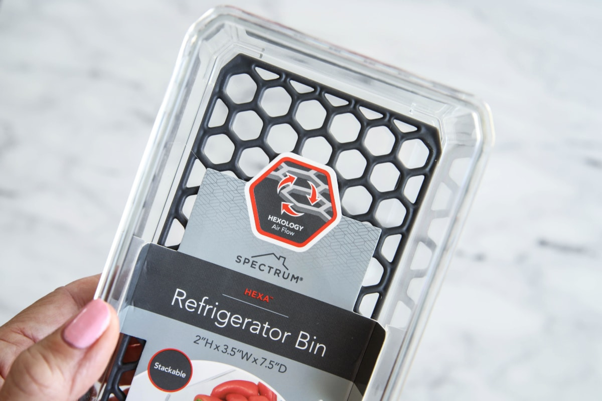 Refrigerator organization product with hexagon shapes
