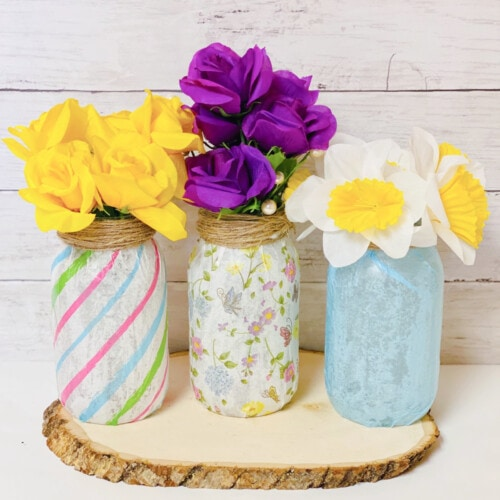 tissue paper mason jar vase