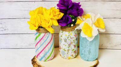 Mason jar vase with colorful flowers