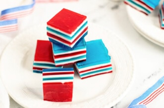 Red white and blue jello on plate