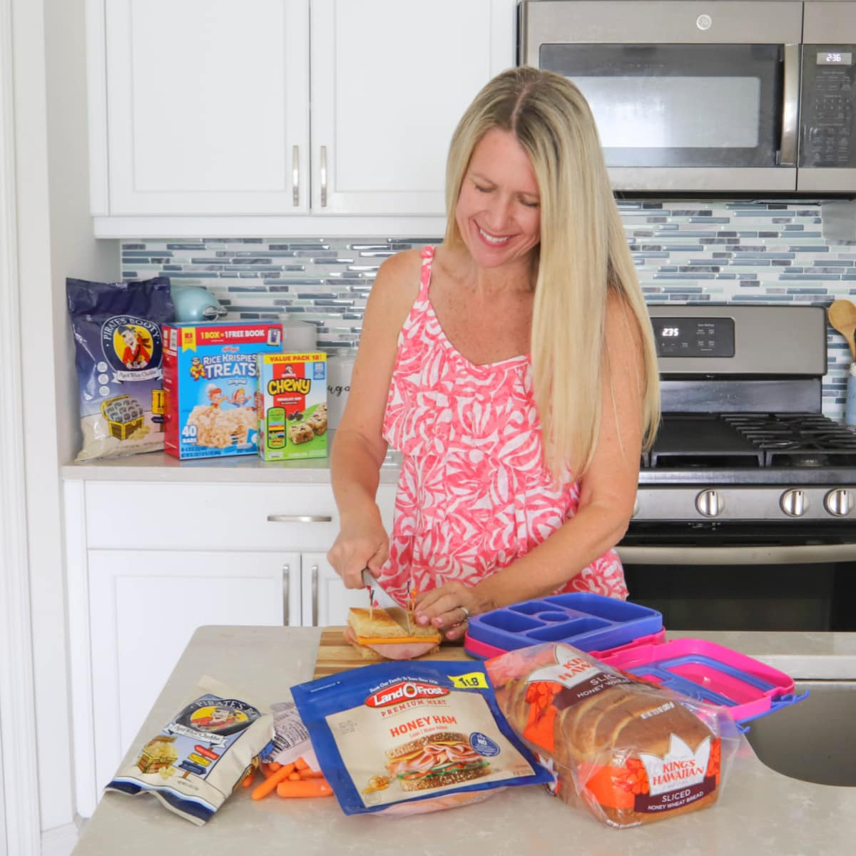 A mom making school lunches