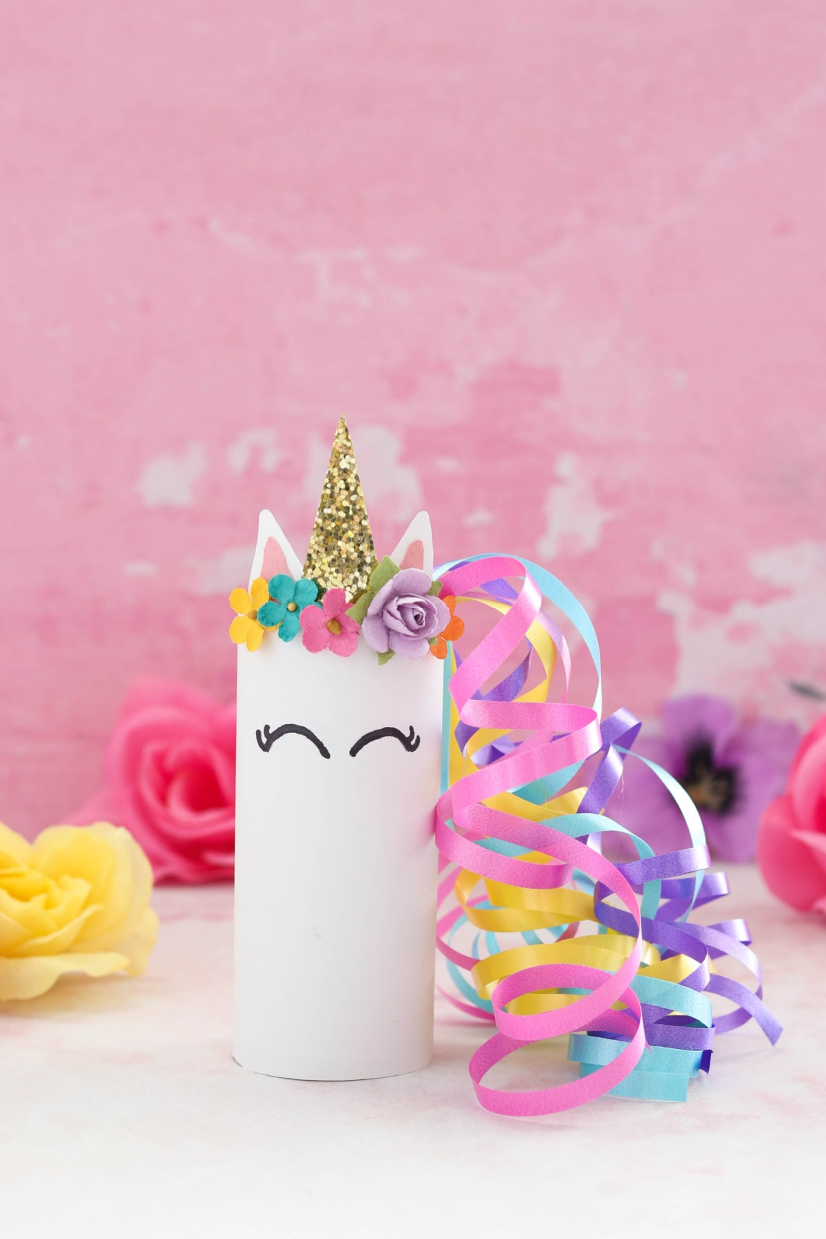 Unicorn toilet paper roll craft with flowers