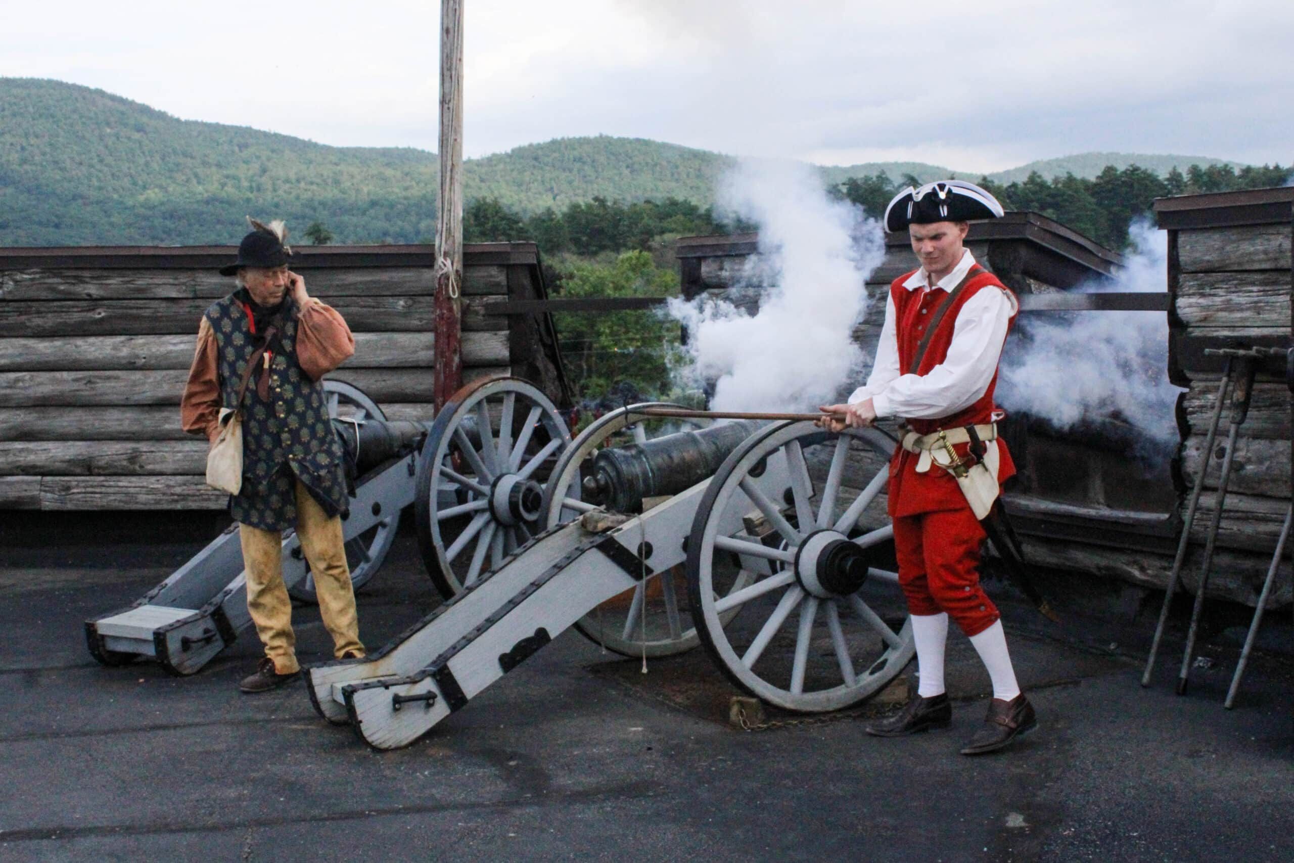 Firing a cannon at Fort William Henry