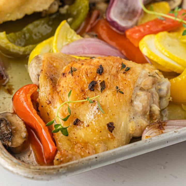 Sheet pan chicken and veggies up close