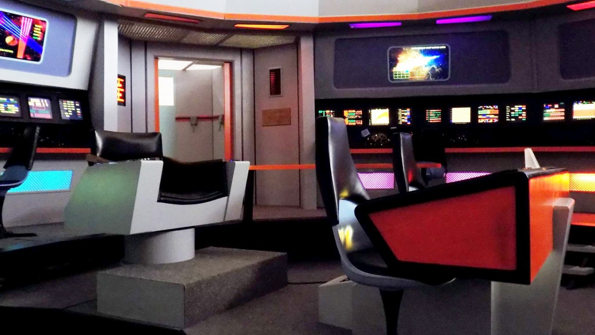 The bridge of the Star Trek set tour
