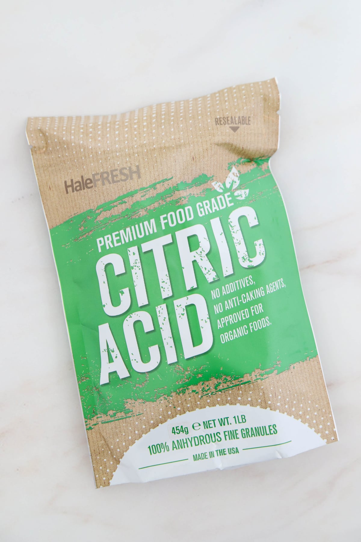 Bag of citric acid