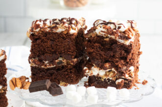 Two slices of Mississippi Mud Cake on a plate