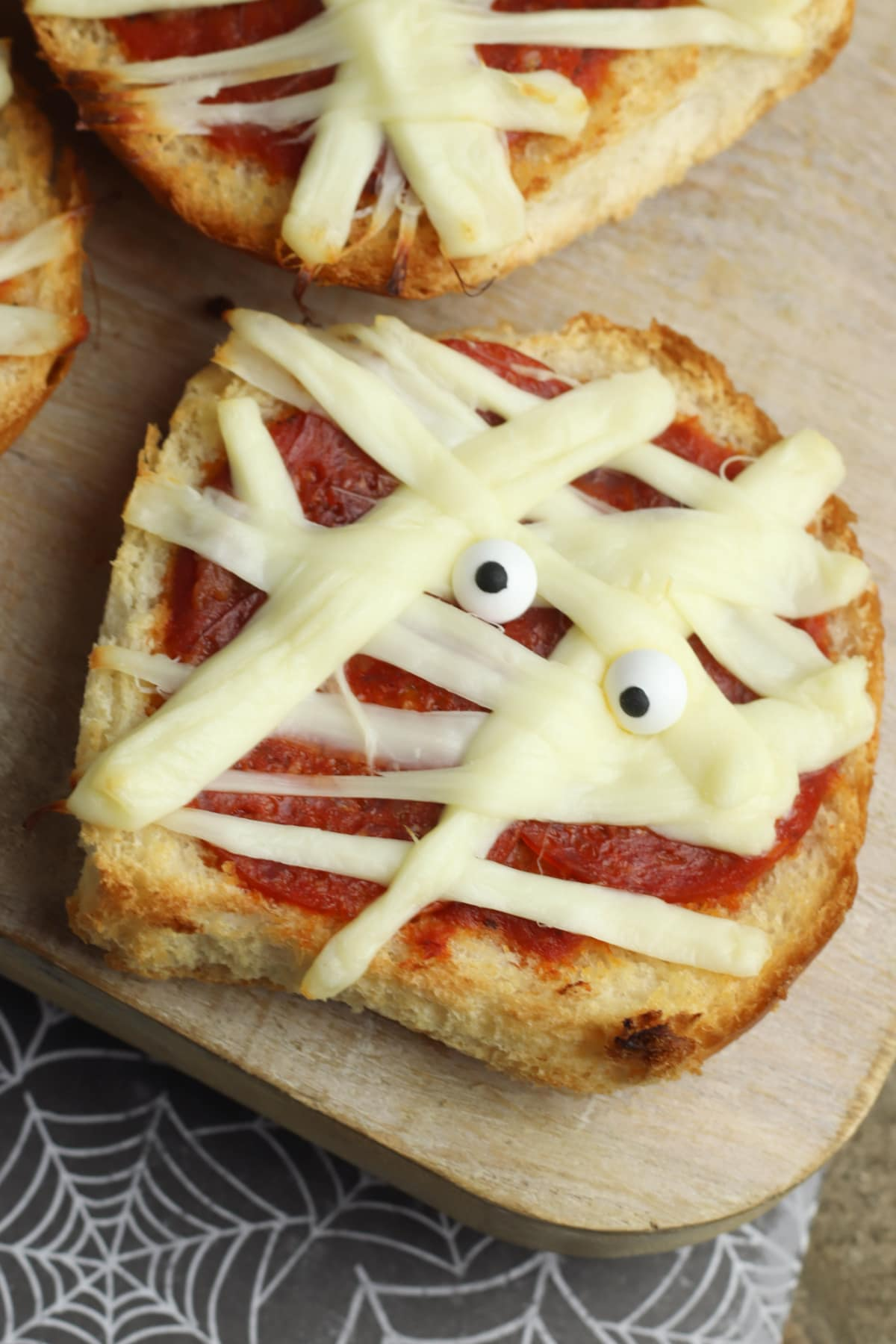 Mummy Pizza with candy eyes