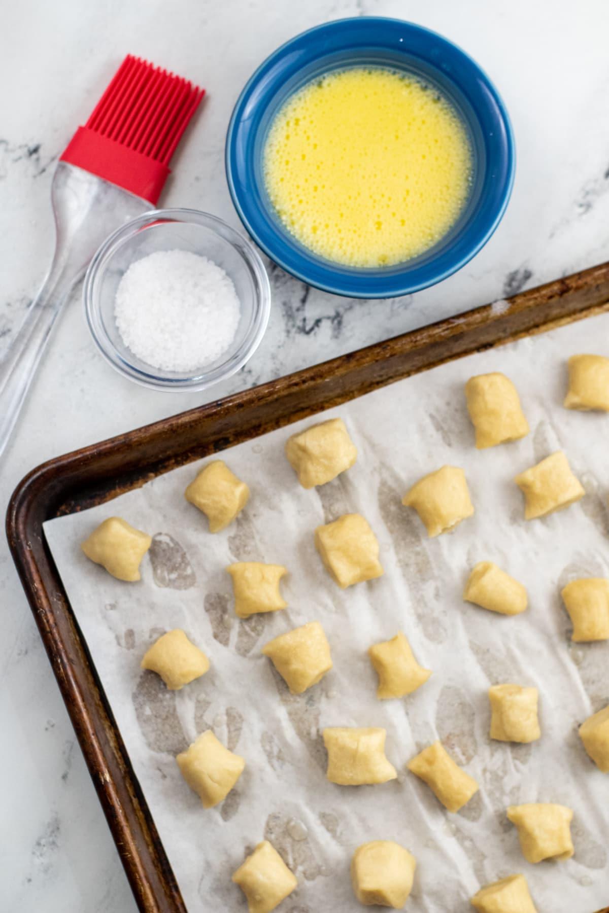 Pretzel bites on a cookie sheet