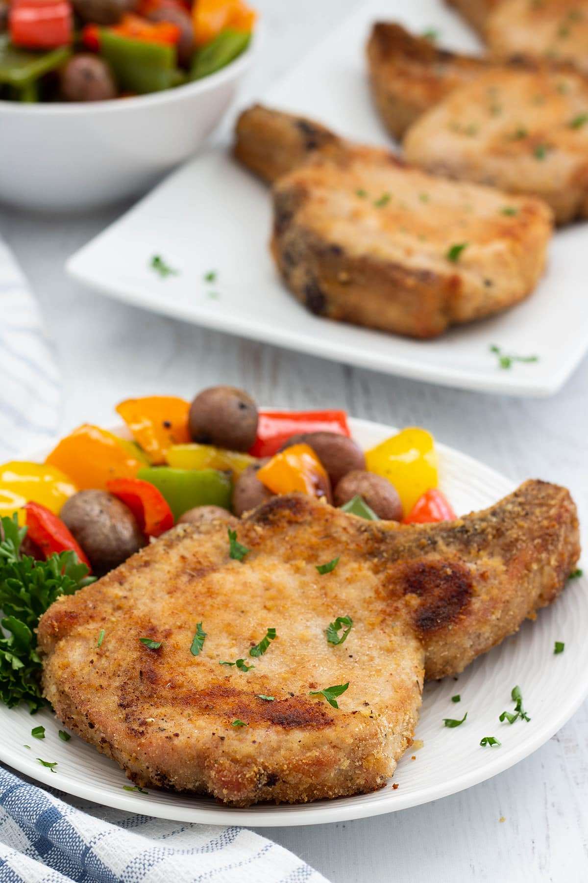 Shake and bake pork chops with vegetables
