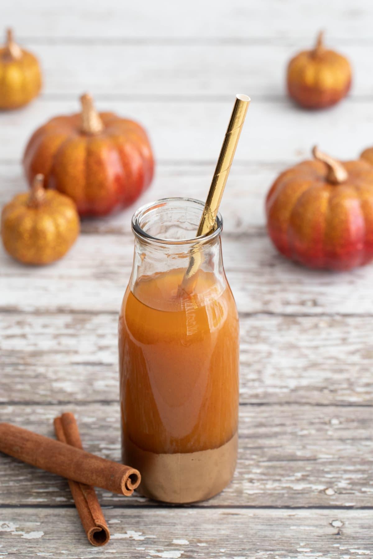 Pumpkin Juice with glittery pumpkins