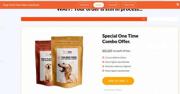 dog food funnel upsell