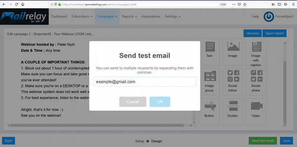 Mailrelay14 send test email