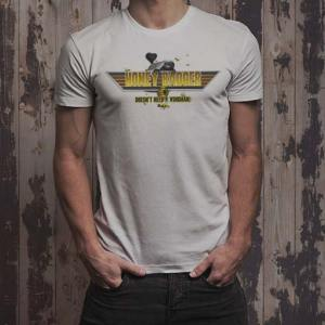 Honey Badger Doesn't Need a Wingman: He's topgun funny graphic men's white t-shirt. .