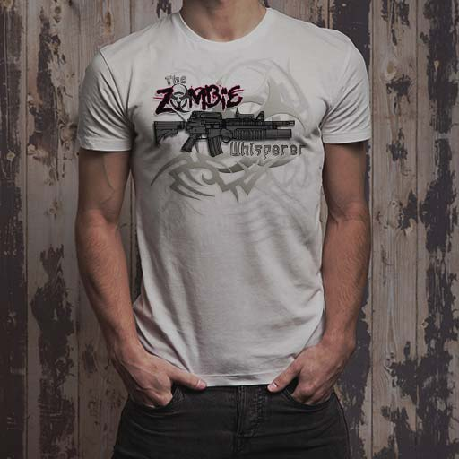 The Zombie Whisperer M16 men's white t-shirt.