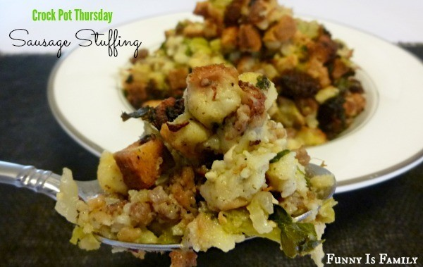 Crock Pot Sausage Stuffing that is perfect for Thanksgiving!