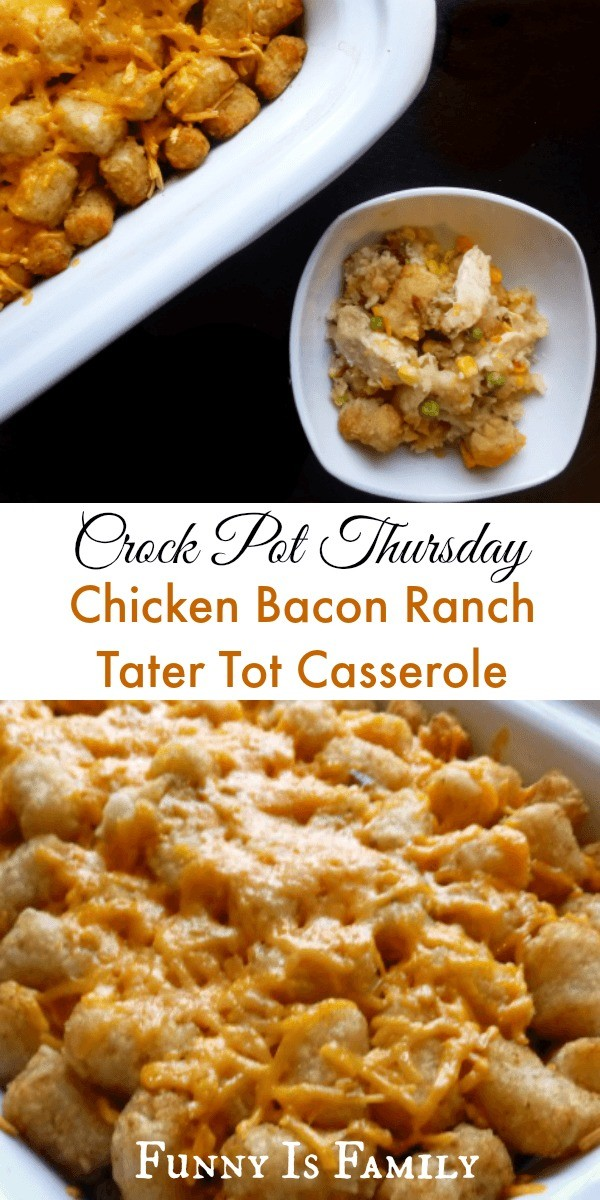 This Chicken Bacon Ranch Tater Tot Casserole recipe is filling, flavorful, was a HUGE hit with my family! Give this slow cooker dinner idea a try!