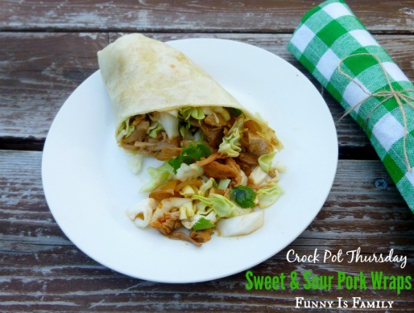 These Crockpot Sweet and Sour Pork Wraps will knock your socks off! They are a quick and easy dinner idea for hot days, and are a family favorite!