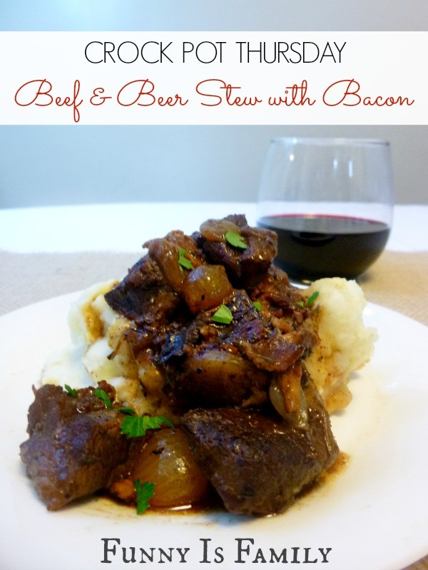 This Crockpot Beef and Beer Stew with Bacon recipe tastes great served over mashed potatoes!