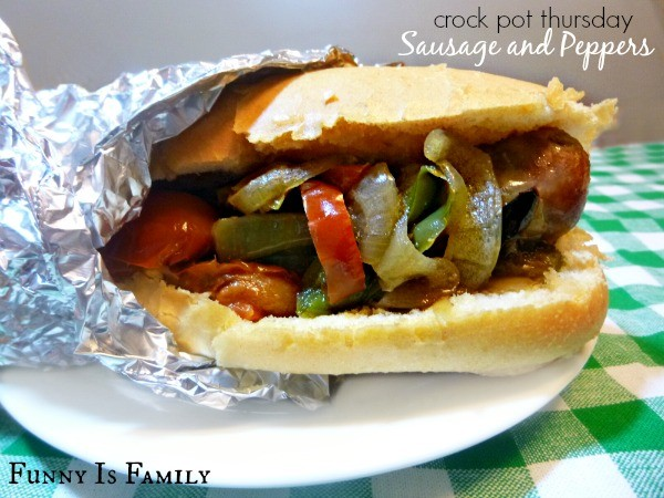 These Crockpot Sausage and Peppers are delicious and super easy to make! Give this dinner recipe a try when you're craving fair food without the cost or the crowds! They are great for parties, picnics, and holiday celebrations, too!