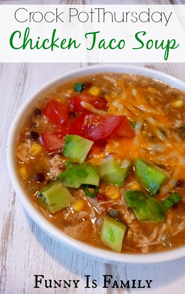 This Crockpot Chicken Taco Soup is easy, delicious, and a family favorite! We topped ours with green onions, avocado, cheese, sour cream, tomato and tortilla chips.