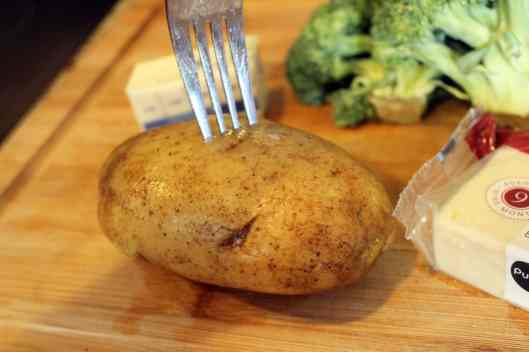 Prick potato all over before cooking