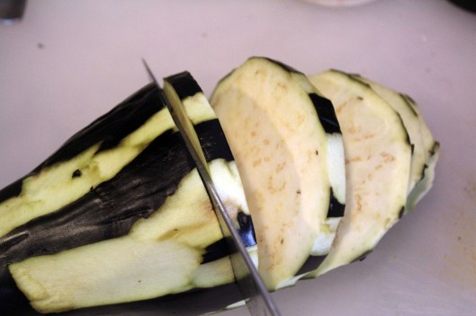 Slice eggplant evenly