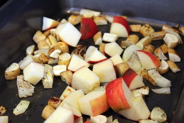 Add apples halfway through roasting